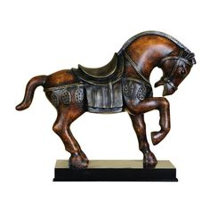 13 in. Traditional Horse Decorative Figurine, Browns/Tans