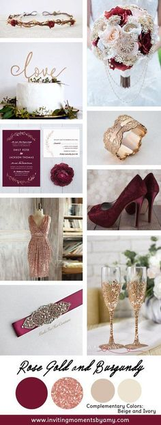 Rose Gold and Burgundy Wedding Colors october wedding colors schemes / fall wedding ideas colors october / fall wedding ideas november / fall winter wedding / fall colors for wedding Gold And Burgundy Wedding, Burgundy Wedding Colors, Maroon Wedding, Gold Wedding, Dream Wedding, Wedding Day, Deep Burgundy, Burgundy Wine, Burgundy Bridesmaid