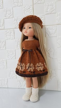 Knit Crochet, Crochet Hats, Doll Dress Patterns, Waldorf Dolls, Knitted Dolls, Beautiful Dolls, American Girl, Doll Clothes, Crochet Patterns