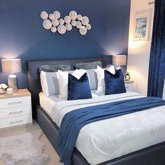 Best 27 Room Decor Bedroom Design Ideas For Your Inspiration Blue Master Bedroom, Blue Bedroom Walls, Blue Bedroom Decor, Bedroom Wall Colors, Bedroom Color Schemes, Room Ideas Bedroom, Modern Bedroom, Navy Blue Bedrooms, Bedroom Designs For Couples