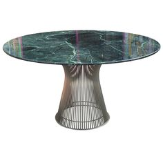 Iconic Warren Platner Dining Table with Green Marble Top | From a unique collection of antique and modern dining room tables at https://www.1stdibs.com/furniture/tables/dining-room-tables/