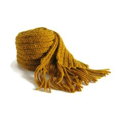Yellow Wool Scarf, Long Scarf, Scarf with Fringes, Chunky Knit Scarf,... ($59) ❤ liked on Polyvore featuring accessories and scarves