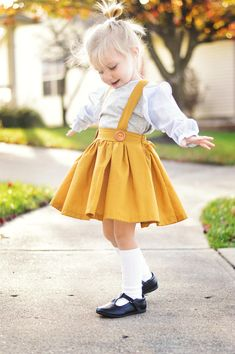 2fb1682a21 Mustard Suspender Skirt. Winter Twirl Skirt with Suspenders. Girls Fall  Dresses