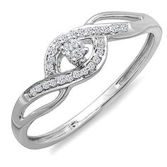 0.15 Carat (ctw) 10k Gold Round Cut Diamond Ladies Criss Cross Engagement Bridal Promise Ring -- Check this awesome product by going to the link at the image.