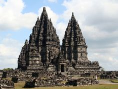 Prambanan Temple, dedicated to the Trimurti - the deities Brahma the Creator, Vishnu the Sustainer and Shiva the Destroyer. Central Java, Indonesia.