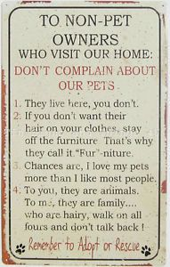 Pet Rules Tin Sign Animal Lover Gift Dog Cat Hair Fur Funny Metal Wall Decor OHW | eBay