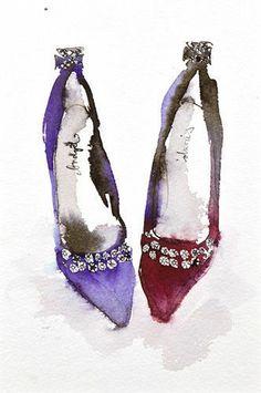 Crown Jewel Shoes print by Bridget Davies - WorldGallery.co.uk