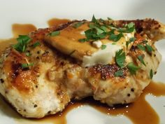 From Gourmet: Day to Day, chicken with balsamic syrup and goat cheese adapted from Giada De Laurentiis.