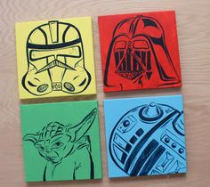 colorful star wars art . 4 - 12x12 canvases . darth vader, storm trooper, R2D2, yoda, millenium falcon, and C3PO . hand painted originals . on Etsy, $94.38 CAD