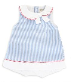 Baby Girls Reef Romper - Blue Stripe Seersucker