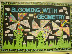 Geometry Bulletin Board: Fun way to study basic geometry concepts. My 5th graders really enjoyed learning about triangles and quadrilaterals by creating this bulletin board.