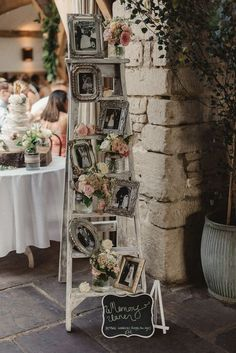 This amazing roundup of wooden ladder wedding decor ideas will get your creative juices flowing. Be it as hanging centerpieces, food displays, backdrops or wedding arches, these top wooden ladder decorating ideas are fast, affordable and ultra chic! Rustic Country Wedding Decorations, Diy Wedding Decorations, Rustic Wedding, Wedding Ideas, Wedding Vintage, Wedding Photos, Shabby Chic Wedding Decor, Wedding Reception, Wedding Themes