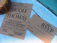 Rustic wedding invitations Great Large Lettering by sweetcookie, $2.20 @Amy Lyons Lyons Lyons Broadus