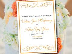 "Fold Over Wedding Program Template Download ""Elegant Swirls"" Orange Program Order of Service - Half Fold Program Printable Download by PaintTheDayDesigns on Etsy"