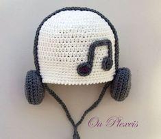 Crochet Baby Hats Crochet baby hat, hat with headphones, crochet baby beanie, ...