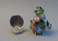 OOAK jazzy sitting frog and flowers teapot Cottage Kitty