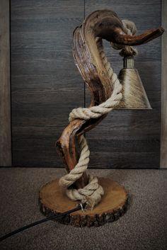 Wooden Floor Lamps, Wooden Lamp, Wooden Flooring, Handmade Lamps, Handmade Wooden, Rope Lamp, Driftwood Lamp, Woodworking Furniture Plans, Home Office Lighting