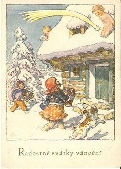 Old Czech Christmas Card Marie Fischerová Kvěchová 1941