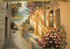Роспись стены в спальне.Автор Михаил Федотов.