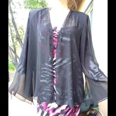 SALE XSCAPE by Joanna Chen Sheer Formal Cover Up Excellent condition. No holes or snags. No stains. Has shoulder pads that could be taken out. Feels like silk blend. Soft.  Comes from a smoke free home. This would be great for a party or evening lightweight arm sleevie. XSCAPE WOMAN Tops Blouses