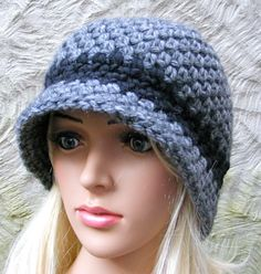 Ladies Winter Hat  Grey Crochet Cloche with by TheHappyCrocheter