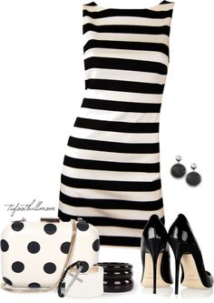 """Stripes and Spots"" by tufootballmom on Polyvore"