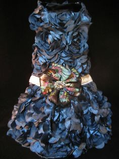 NEW Couture Smoky Blue Rosette Dog Dress _Small_ Dog Clothes_Harness_ Rose Dress #handmade