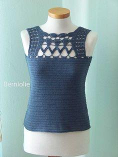 Denim blue lace cotton crochet top tank B191 von Berniolie auf Etsy