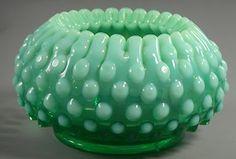 Green hobnail vase