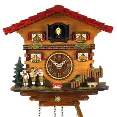 House music is being made on this Black Forest Cuckoo Clock with shingled chalet roof and...