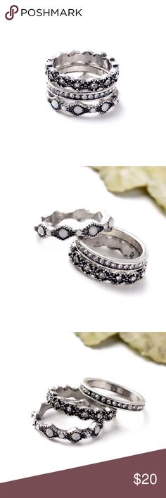 🍉SUMMER SALE🍉Lotus MAYA ring set Beautiful antique silver style MAYA ring set // antique style metal with sparkle crystal and stone elements // three rings in the set // great to wear individually or stack with other ones // matching bracelet available in separate listing Lotus by 17L Jewelry Rings