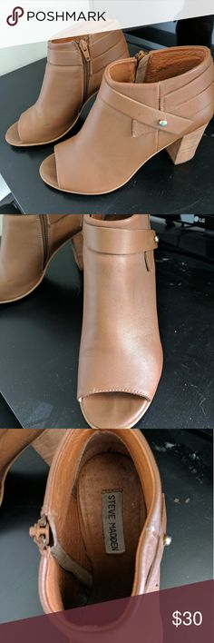 Steve Madden open-toe heeled booties Downsizing my shoe collection, make me an offer :)   Tan leather booties, worn a handful of times. They do have a stain as shown in the 4th picture and the price reflects this. Honestly it's not noticable at all when wearing the shoes, but there is no way to get it out, unfortunately. Steve Madden Shoes Heels