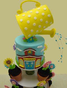 """Thank You For Helping Us Grow"" Teacher Appreciation Cake - Cake by Toni (White Crafty Cakes) Cupcakes, Cupcake Cakes, Gorgeous Cakes, Amazing Cakes, Flower Pot Cake, Gravity Defying Cake, School Cake, Garden Cakes, Funny Cake"