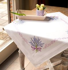 Embroidery Kit Tablecloth Lavender Design Stitched on Cotton Fabric Diy Embroidery, Cross Stitch Embroidery, Embroidery Patterns, Cross Stitching, Cross Stitch Patterns, Mini Cross Stitch, Beaded Cross Stitch, Counted Cross Stitch Kits, Minnie Baby
