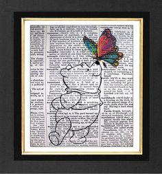 "Winnie the Pooh ""Butterfly Friends -ORIGINAL ARTWORK Mixed Media art print on 8x10 Vintage Dictionary page, Dictionary art, Dictionary print"