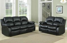 2 Pc Homelegance Cranley Collection Black Bonded Leather Reclining Sofa Loveseat Set 9700blk
