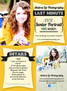 senior photography flyers - Google Search