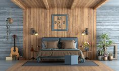 Find the perfect bedroom interior design for your home by exploring our wide collection. Design your dream bedroom with Bangalore's top award-winning interior design experts. Wooden Wall Design, Wall Panel Design, Wooden Wall Panels, Wooden Walls, Pvc Wall, Modern Bedroom, Master Bedroom, Rustic Bedrooms, Bedroom Rugs