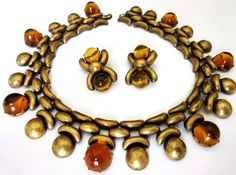 CIRCA 40'S JOSEFF OF HOLLYWOOD SIGNED HIGH DOME AMBER GLASS RUNWAY NECKLACE RARE #JOSEFFOFHOLLYWOOD