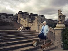 April 18, 2016: Queen Elizabeth II posing on the steps of the east terrace with four of her dogs Willow, Vulcan, Holly and Candy in the garden of Windsor Castle in Windsor. Queen and her corgis