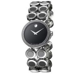 @Overstock - The Movado wristwatch from the Ono Moda collection sparkles with genuine diamonds. This women's dress watch showcases a stainless steel bracelet set with black ceramic circles.http://www.overstock.com/Jewelry-Watches/Movado-Womens-Ono-Moda-Stainless-Steel-And-Ceramic-Diamond-Watch/5108513/product.html?CID=214117 $1,475.99