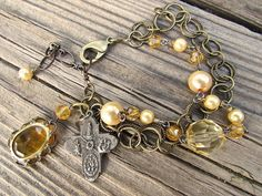 Art Jewelry, Faux Pearl, Pewter Cross, Vintage Amber Glass, Repurposed Jewelry…