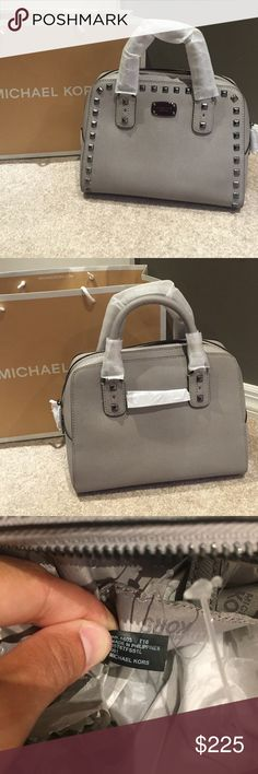 💜Michael Kors Saffiano Studded Satchel💜 ⭐️NWT MK Small Saffiano Studded Satchel in Color Pearl Gray❤️ Gorgeous Bag😍 Limited Edition 🔹Crossbody Strap inc🔹Purse Feet to protect bottom🔴NO TRADES🔴💥Less on Ⓜ️💥 Michael Kors Bags Satchels