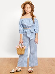 Shop Girls Off Shoulder Striped Top & Knot Pants Set online. SHEIN offers Girls Off Shoulder Striped Top & Knot Pants Set & more to fit your fashionable needs. Dresses Kids Girl, Kids Outfits Girls, Cute Girl Outfits, Cute Outfits For Kids, Teenager Outfits, Girls Pants, Kids Girls, Girls Fashion Clothes, Tween Fashion