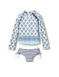 Cabana Life-Girls Coastal Crush Collection-2PC Rashguard Set, 50+ UV Protection