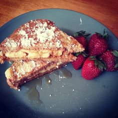 Peanut butter banana French toast using Ezekiel bread.