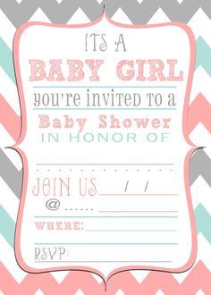 Free baby shower printable invitation