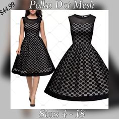 """Women's Vintage Formal Evening Sleeveless Mesh Flare Swing Dress. Made from 100% polyester, available in black only. The dress has a round neck, sleeveless arms, pokla dot,translucent mesh, soft and comfortable fabric. Available in sizes small to XXL (4 - 18) 👗New With Tags.    Measurements as follows:    Small = US 4 - 6, Bust 32.3"""" - 34.7"""", Waist 26.8"""", Length 39.4""""    Medium = US 8, Bust 34.2"""" - 36.6"""", Waist 29.5"""", Length 40.2""""    Large = US 10 - 12, Bust 36.2"""" - 38.6"""", Waist 30.7""""…"""