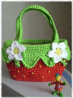 """"""" MOSSITA BELLA PATRONES Y GRÁFICOS CROCHET """": Bolsa Bella Fresita a Crochet..."""