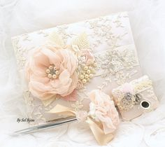 Lace Guest Book, Blush, Wedding, Signature Book, Signing Pen, Champagne, Lace, Cream, Ivory, Crystals, Pearls, Vintage, Elegant